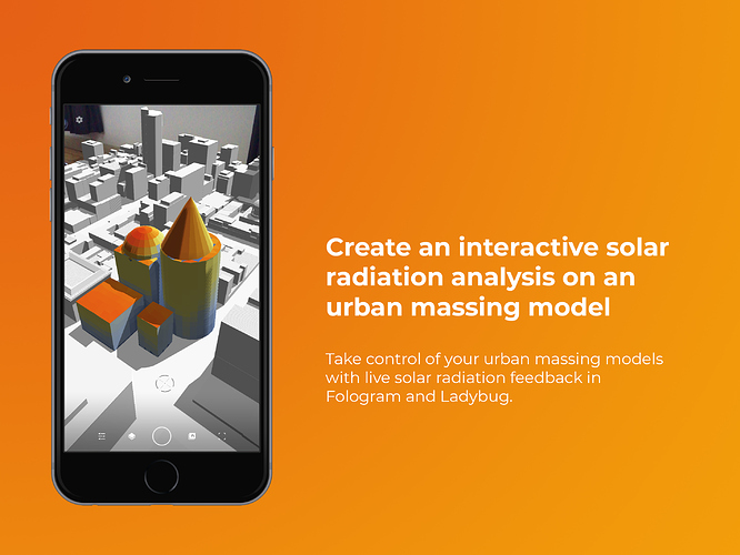 Create an interactive solar radiation analysis in Ladybug on an urban massing model