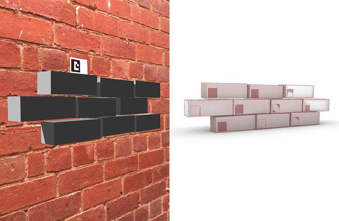 Digitized bricks in AR and in Rhino